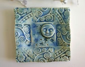 Blue Moon Celestial Textured Trinket Dish Handmade Art Pottery