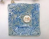 Moon and Stars Plate Spoon Rest Sponge Holder Trinket Dsih Handmade Pottery