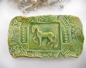 Ceramic Horse Soap Dish Sponge Holder Handmade Butter Dish Pottery w feet  Green