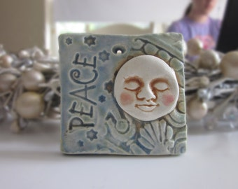 Peace Moon Christmas Ornament Tile Ceramic
