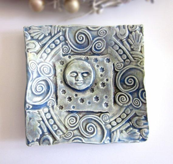 Moon and Stars Trinket Dish Handmade Pottery