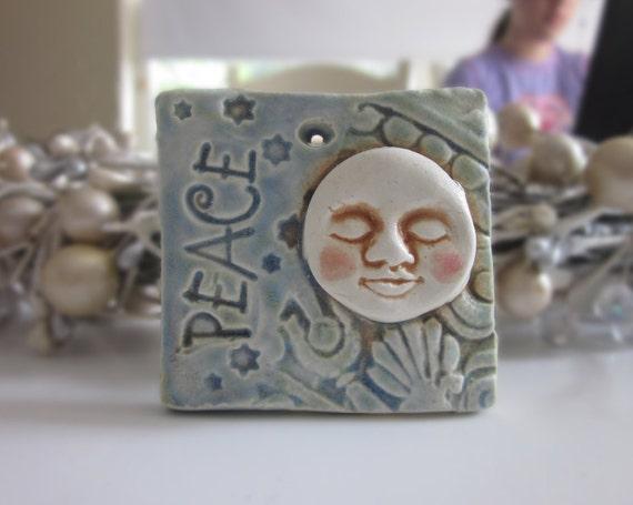Peace Moon Christmas Ornament Tile Ceramic