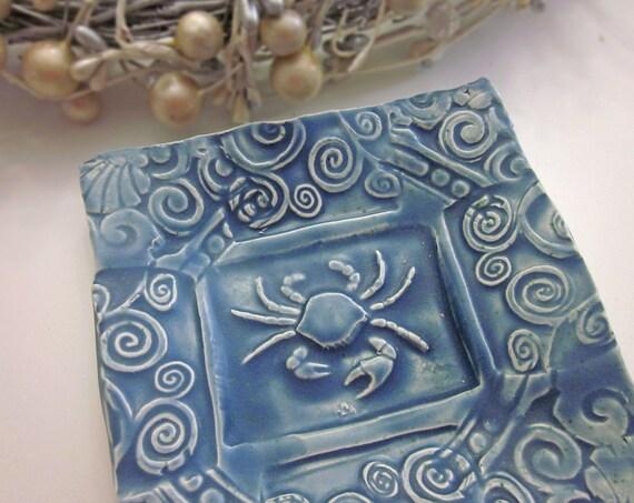 Ceramic Crab Dish Dark Blue Soap Dish Spoon Rest