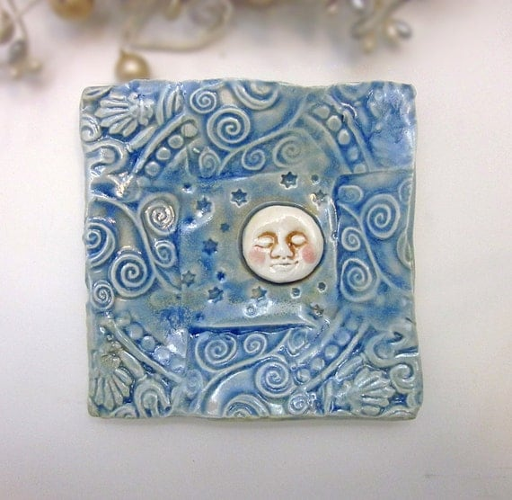 Ceramic Moon Plate - Handmade Pottery - by Jacqueline Allard