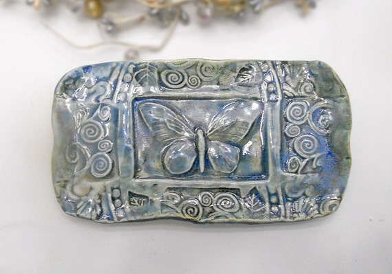 Ceramic Butterfly Plate Butter Dish Soap Dish Sponge Holder Sky Blue Handmade Pottery w feet