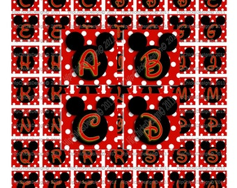 "Black Mouse Ears and Red PolkaDot ALPHABET Initials Graphic DIGITAL Collage IMAGES  1"" Squares - instant Download"