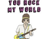 Romantic Greeting Card - You Rock My World AGEING ROCKER VERSION