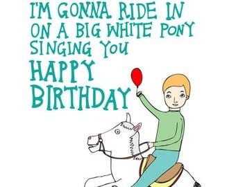 Birthday Card - White Pony