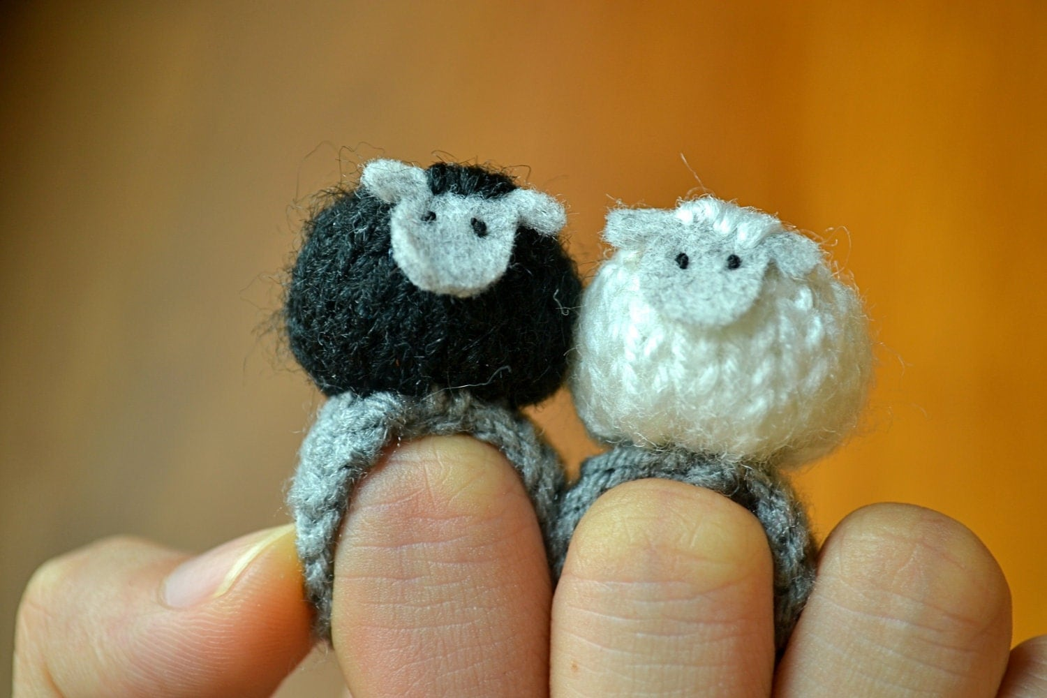 RESERVED for Holly 2 sheep amigurumi rings