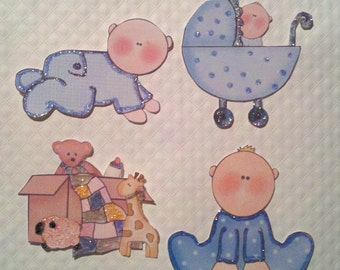 Baby Boy Paper Pieces - for Scrapbook Pages