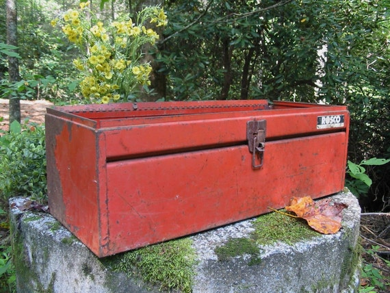 Festive TOPLESS Rusty Orange Metal Salvaged Tool Box
