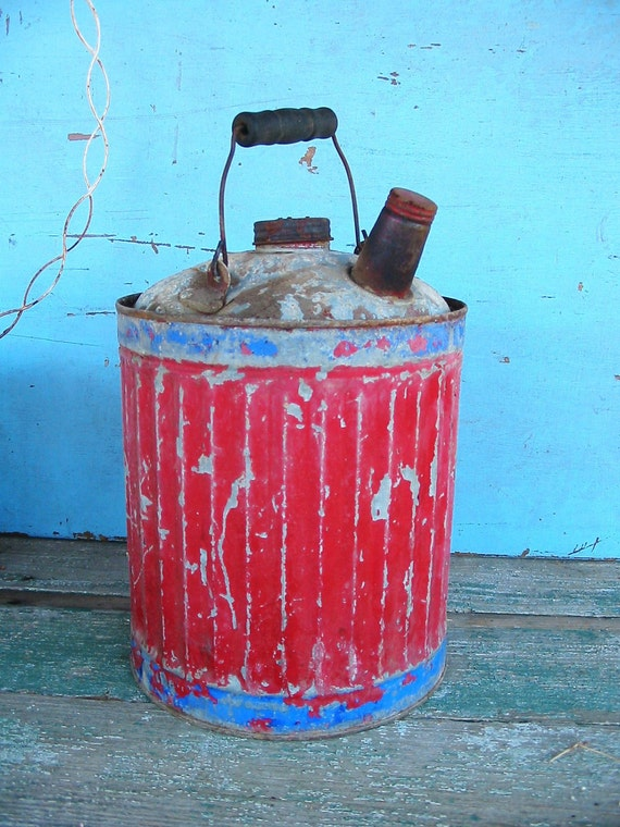 Very Old FunKy Chippy Galvanized RED n BLUE Bail Handled Gas Can    Sweeeeet