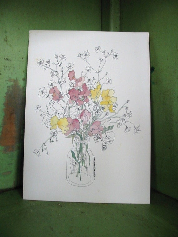 Mary Lou Goertzen Lithograph Print Snapdragons In A Jar