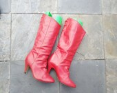 vintage 70s red high heels  leather italian boots  size 5.5m