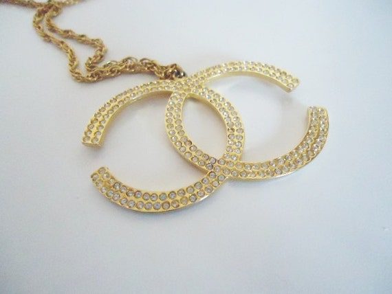 vintage CHANEL rope gold rhinestone  necklace