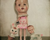 Vintage Doll Photography Print, Ladyhead, Kitsch Art Print