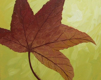Original Acrylic Painting on 12x12 Wrapped Canvas Fall, Autumn Sweet Gum Leaf in Copper, Red, Rust in Mustard Yellow Leaf Series 8