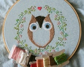 Embroidery handmade pattern 7: Ofelia Owl. TKF patterns and tutorials