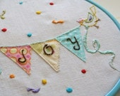 Handmade embroidery pattern 1.  Joy. TKF patterns and tutorials