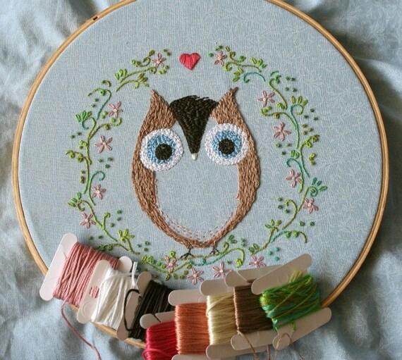 Embroidery handmade pattern 7: Ofelia Owl. TKF patterns and tutorials