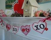 Valentines  Banner- Valentines Garland-- Gift Idea - Valentine Photo Prop Party- Decoration-Valentine Photo Prop- XO XO XO Valentines Banner