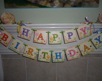 Happy Birthday Sign-Birthday Banners-Floral Birthday Sign-Birthday Photo Prop-Girls Birthday Party-Birthday Party Decor-Birthday Garlands