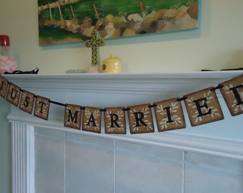 Just Married Banner-Wedding Banner-Reception Banner-Rustic Wedding Sign-Woodland Weddings-Just Married Sign-Wedding Decorations-Weddings