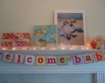 Welcome Baby Banner, Baby Girl  Banner- Baby Shower Banner- Baby Shower Garland-Baby Girl Banner- Baby Photo Prop