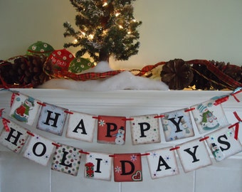 Happy Holidays Sign-Snowman Banner-Christmas Banners-Holiday Banners-Christmas Garlands-Winter Holiday Sign-Snowman Sign-Holiday Decorations