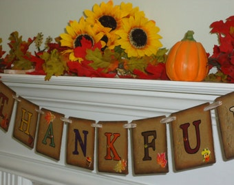 Thanksgiving Banner-Thankful Banner-Thanksgiving Decor-Rustic Thanksgiving-Fall Decoration-Thankful Garland-Rustic Fall Banner-Autumn Banner