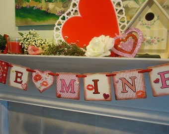 Valentines Banner -Valentine Cards-Valentines Day Party-- Valentines Garland- Valentine Photo Prop- Valentines Day Gifts- Valentines Decor