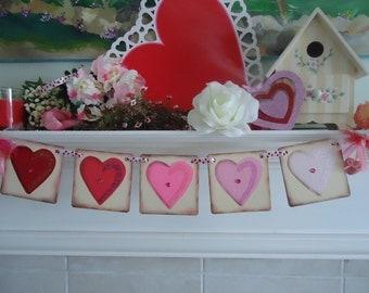 Valentine Banner-Valentines Garland-Were Engaged Banner- Love Banner-Wedding Banner-Valentines Day Party- Engagement Photos-Heart Banner-