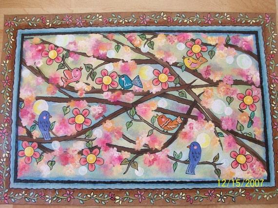 Floorcloth- Floor Coverings-Washington DC Art-Housewarming Gift-Cherry Blossom Rug-Eco Friendly Rug-Home Decor-Bathroom Rug