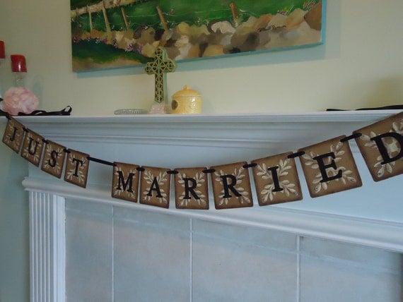 Wedding Banner-Wedding Garland-Just Married Banner-Photo Booth Signs-Rustic Weddings-Just Married Garland-Wedding Reception-