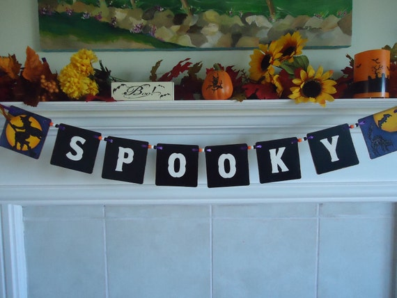 Spooky Halloween Garland - Banner/Wall Hanging - ready to ship TODAY