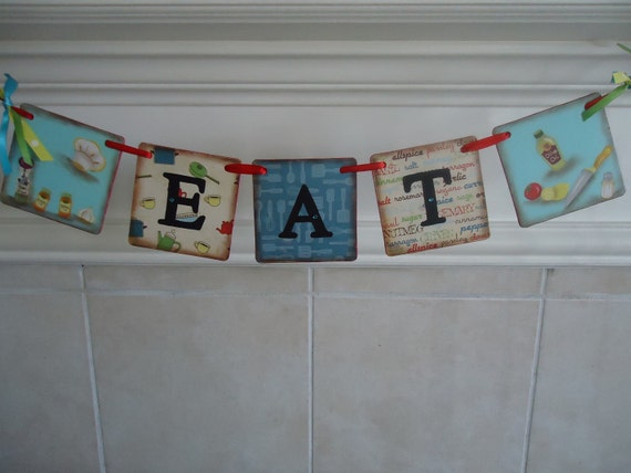 Eat Kitchen Banner/Garland - Great Housewarming Gift - Retro Style-Eco- Friendly