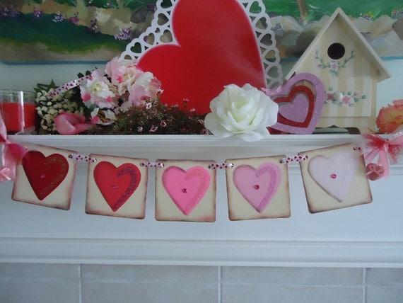 Valentine Banner-Heart Banner-Valentine Garland-Valentines Day-Valentines Day Decor-Engagement Photos-Valentine Hearts-Valentine Photo Prop