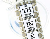 Chemistry Jewelry Periodic Table Think Necklace - Tan Polka Dot