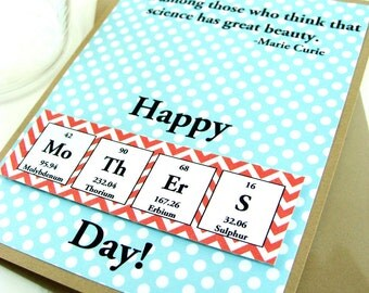 Mothers Day Card - Teal and Red