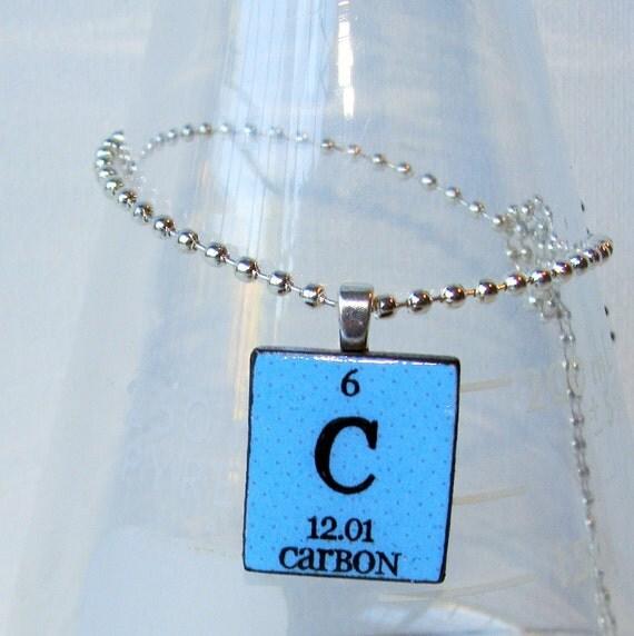 Carbon Scrabble Periodic Table Necklace Light Blue