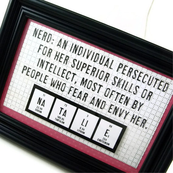 Chemistry Periodic Table Nerdy Womens Art Personalized Sign - Pink
