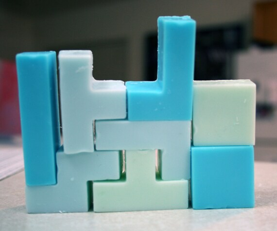 Tetris Soap 8 pieces inspired by Level 5 by DigitalSoaps, Peppermint Sandalwood scent