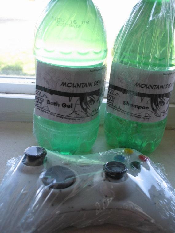 Mountain Dew type shampoo, bath gel and Xbox 360 soap set