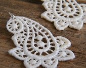 Romantic White Lace Earrings with Sterling Silver Ear Wires - Under 25 USD