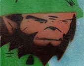 Warwolf stencil on canvas