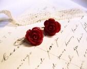 Deep Red Beauty Rose Earrings