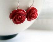 Deep Red Scarlet Flower Roses Earrings