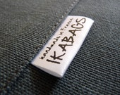 Fabric Labels 300 pcs Custom Printed Satin Folded Care Label Black Printed on white Clothing Labels OEKO TEX certified Delivered CUT