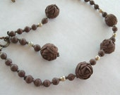 Rose Bracelet and earrings vintage AS IS