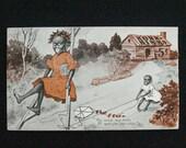 Vintage Black Americana Jocular Jinks Kornelia Kinks Postcard